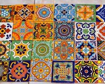 24 Mexican Talavera Tile mix 4x4""