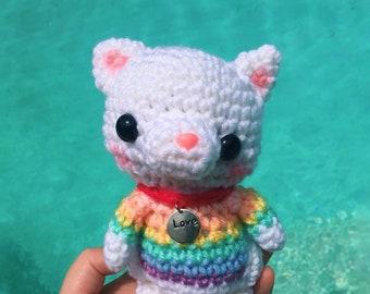 Pastel Rainbow Cat - LGBT Pride - Pride Month - Cat Amigurumi - Cat Plush - Cat Lover Gift- Cat Toy - Crochet Cat Doll- READY to SHIP