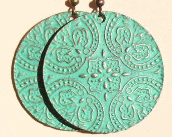 Green Earrings Boho Earrings Dangle Drop Earrings Boho Jewelry Bohemian Jewelry Patina Earrings Brass Earrings Birthday Gift For Her