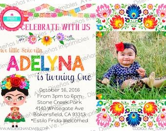 Frida Kahlo Invitations, Frida Kahlo Birthday Invitations, Frida Kahlo Mexican Party, Frida Kahlo Floral Roses