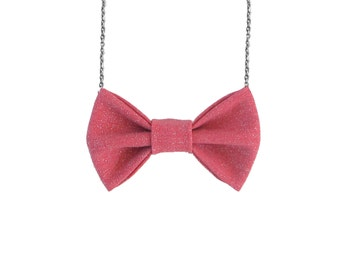 Red Sparkles - Bow Tie Necklace, Pink Casual Bowtie