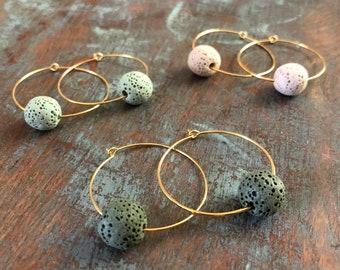 Hoop Lava Bead Essential Oil Diffuser Earrings