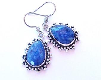 Boucles d'oreille Saphir, Boucles d'oreilles pendantes, Boucles d'oreille gouttes, Boucles d'oreille bleues et argentées