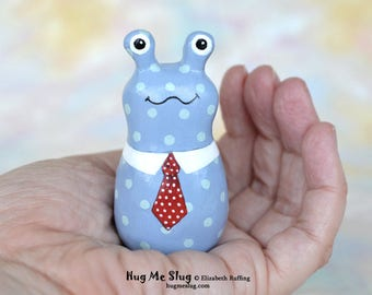 Handmade Slug Figurine, Miniature Sculpture, Blue Polka Dotted and Red, Hug Me Slug, Animal Totem Charm Figure, Personalized Tag