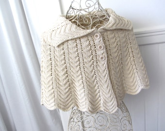 Vintage Knit Cream Shoulder Shawl Cape shoulder caplet cream knit poncho knit shoulder shawl one size.