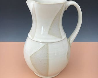 Beige and White Triangles Pattern Pitcher/Vase