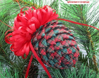 Fabric Pinecone Ornament - Red and Green Tartan Plaid - Stocking Stuffer, Christmas Ornament, Co-Worker Gift, Ornament Exchange Gift