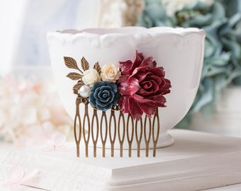 Maroon Marsala Dark Red Burgundy Navy Blue Dark Blue Hair Comb, Wedding Hair Accessory, Leaf Flower Bridal  Hair Comb, Bridesmaid Gift