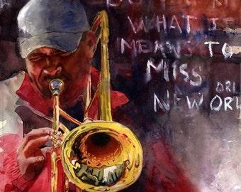 New Orleans Jazz art Print of my Watercolor Painting .New Orleans Ephemera.
