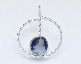 Sea Glass Jewelry - Sterling Rare Victorian English Sea Glass Pendant