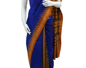 Hand woven Pure Silk Orissa Ikkat Saree in Ink Blue Color with Orange Border and Pallu