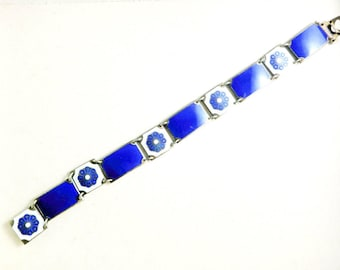 Vintage David Andersen Bracelet Blue Guilloche Enamel Norway Sterling Silver Flower Bangle