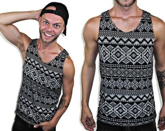 MY Gray and Black Tribal Tank Top