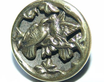 """Very Scarce Victorian Brass Picture Button ~ """"Love Birds"""" ~ 5/8"""" ~ French Antique Brass Button ~ Back Mark ~ So Charming!"""
