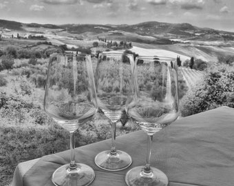 Italy Wine Glasses, Black and White, Photography Print, Digital Download