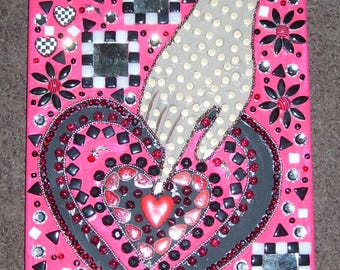 heart mosaic mixed media collage black and white checks red hand