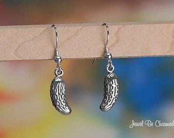 Sterling Silver Pickle Earrings Fishhook Earwires Solid .925 Cucumber