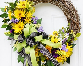Yellow and Purple Grapevine Wreath, Front Door Wreath with Yellow and Purple Flowers, Spring and Summer Grapevine Wreath