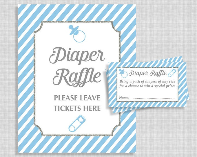 Blue Diaper Raffle Sign & Tickets, Light Blue Stripe Baby Shower Diaper Request, Invitation Insert, Baby Boy, INSTANT PRINTABLE