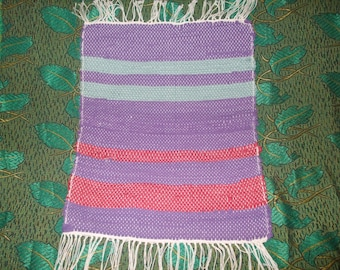 Vintage rag rug Swedish Hand Woven tapestry Handmade table runner or rug 60s
