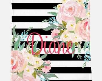 Monogrammed Blanket for Teen    Black Stripes and Floral   Monogrammed Blanket   Gift for Teen
