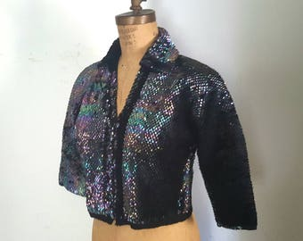 1950s Black Sequin Jacket / Small