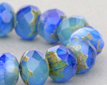 Czech Glass Beads - Czech Glass Rondelles Beads - Cobalt Blue Aqua Crystal Mix Opaque Transparent with Picasso Beads - 9x6mm - 25 Beads