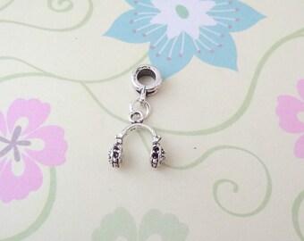 Silver Music Headphones Charm for European Bracelets/Large Hole Bead/Charm - Ready to Ship