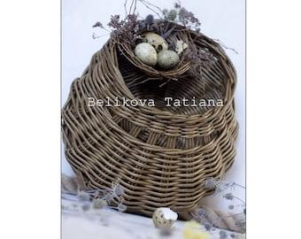 Rustic Door basket Wicker hanging wall basket Interior basket Basket for flowers Cottage wall decor basket Flower girl basket rustic