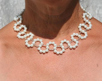 White bridal necklace Pearl