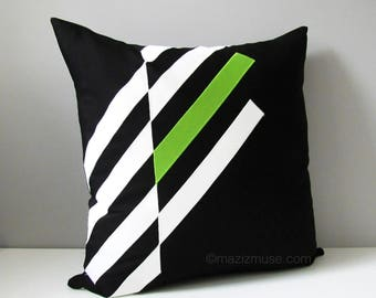 Decorative Black & White Outdoor Pillow Cover, Modern Geometric Pillow Cover, Lime Green Throw Pillow Cover, Sunbrella Cushion Cover