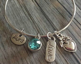 Aunt Charm Bracelet, Aunt Bangle, Crystal Charm Bracelet, Aqua Blue Crystal, Blue Crystal, Silver Bracelet, Aunt Charm, Charm Bracelet