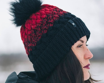 Winter Hat, Red and Black hat, Women Hat, Knit Hat, Sale winter hat, sale hat, knitting winter hat, knit red hat, knit black hat, style hat