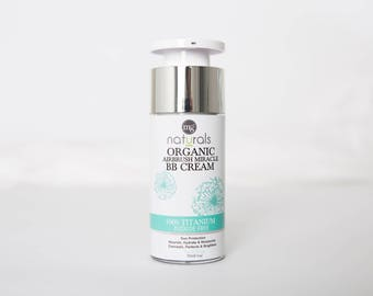 Organic, Vegan, Mineral BB Cream. Airbrush Miracle Liquid Foundation Titanium Dioxide Free 1oz