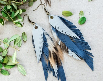 Blue Leather Feather Earrings, Long leather feathers earrings, Boho feathers Earrings,  Boho Festival earrings, Boho Leather Jewelry, Gift