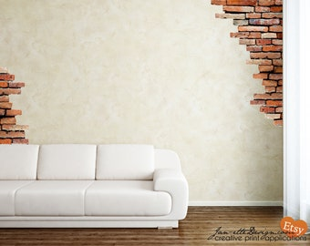 Wall Decal,Brick Wall Fabric Wall Decals,Brick Wall Stickers