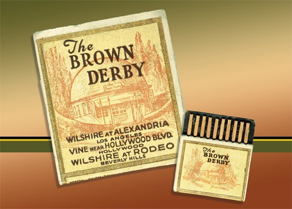 SALE The Hollywood Brown Derby Matchbook PRINT Wall Decor