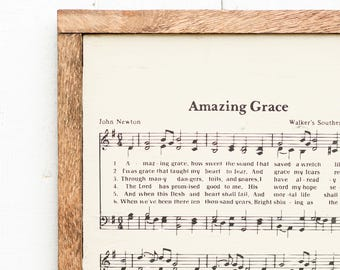 Amazing Grace Rustic Wood Sign - Hymn Sign, Christian Wall Decor, Christian Gift, Wood Sign, Rustic Sign, Rustic Home Decor, Farmhouse Decor