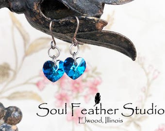 Swarovski Crystal Heart Earrings, Bermuda Blue
