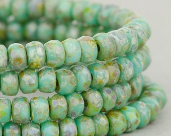 Czech Glass Rondelles - Turquoise Green with Picasso - Czech Glass Beads - 3x2mm - 50 Beads