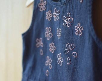 Embroidered denim hand denim dress, girl dress girl, embroidered dress