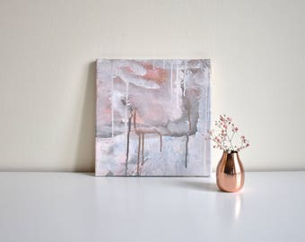 Abstract painting, acrylic on canvas, original, pink, grey, white ' flimsy love '