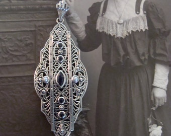 Sterling Silver Filigree Sapphire & Seed Pearls Victorian style Pendant...Lovely