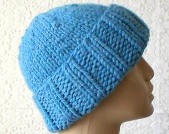 Blue watch cap, mens beanie hat, chunky knit hat, toque, blue hat, brimmed beanie, mens womens knit hat, blue knit hat, winter hat, hiking
