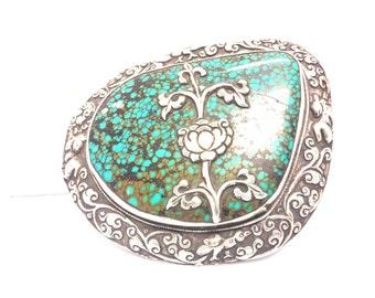Tibetan Silver Buckle Turquoise for Men