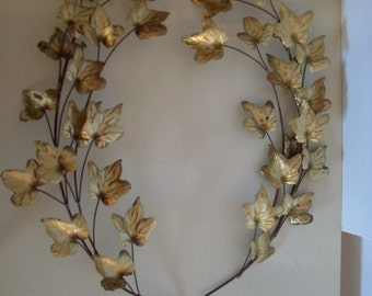 Pair of Vintage Mid Century Modern Gold Toned Tole  Branch/Leaf  Wall Decoration