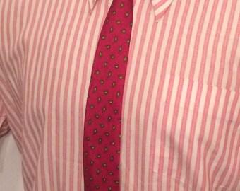 Vintage MENS John Douglas red, black & olive green paisley skinny tie, circa 50s-60s