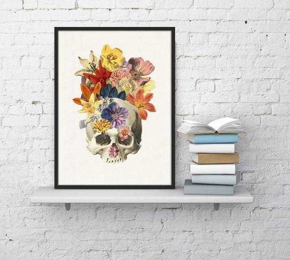 Human skull and flowers collage, Anatomy art, Anatomical art, Wall art, Wall decor, Anatomy, Wholesale, Gift for doctor, SKA016WA4