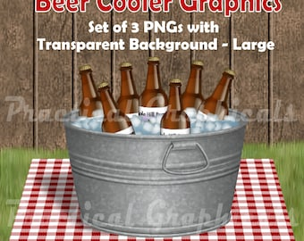 Galvanized Tub Beer Cooler Graphic-Large, 3pc Set of PNG with Transparent Background
