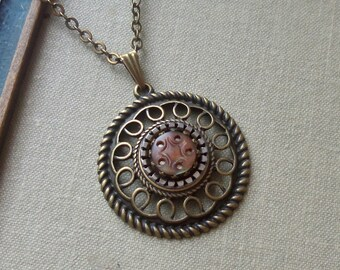 Sale- Evening Star, Antique Mother of Pearl Button Necklace